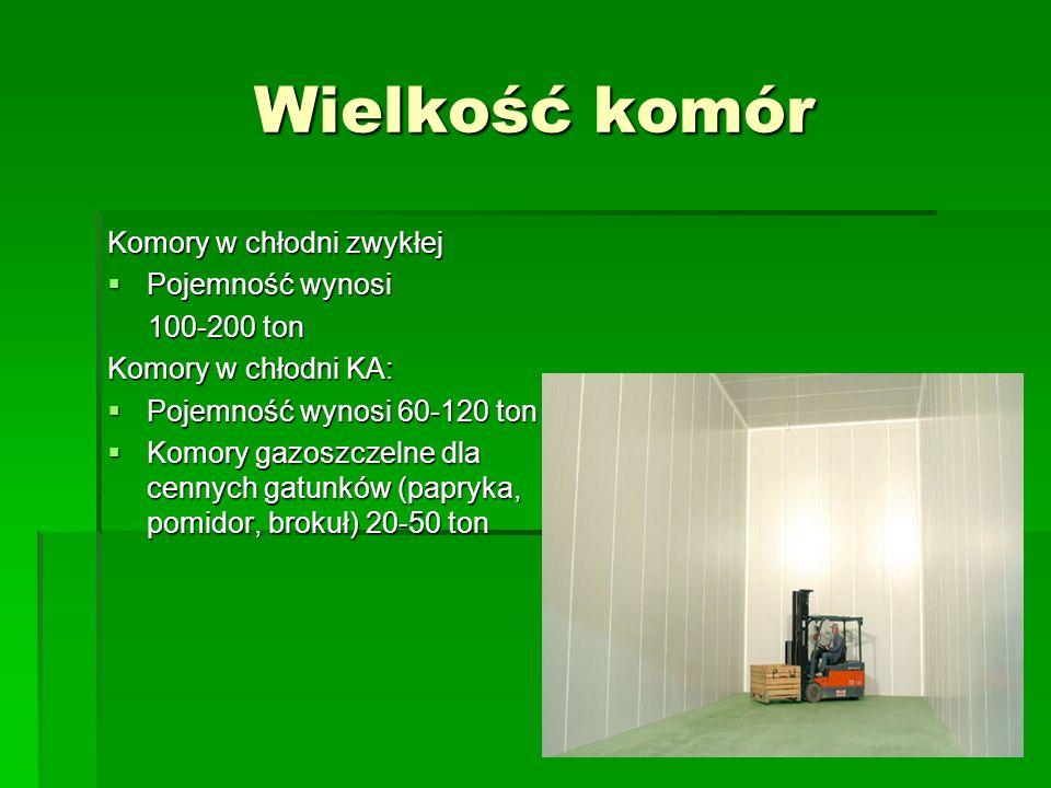 Wielkość komór Komory w chłodni zwykłej  Pojemność wynosi 100-200 ton 100-200 ton Komory w chłodni KA:  Pojemność wynosi 60-120 ton  Komory gazoszc