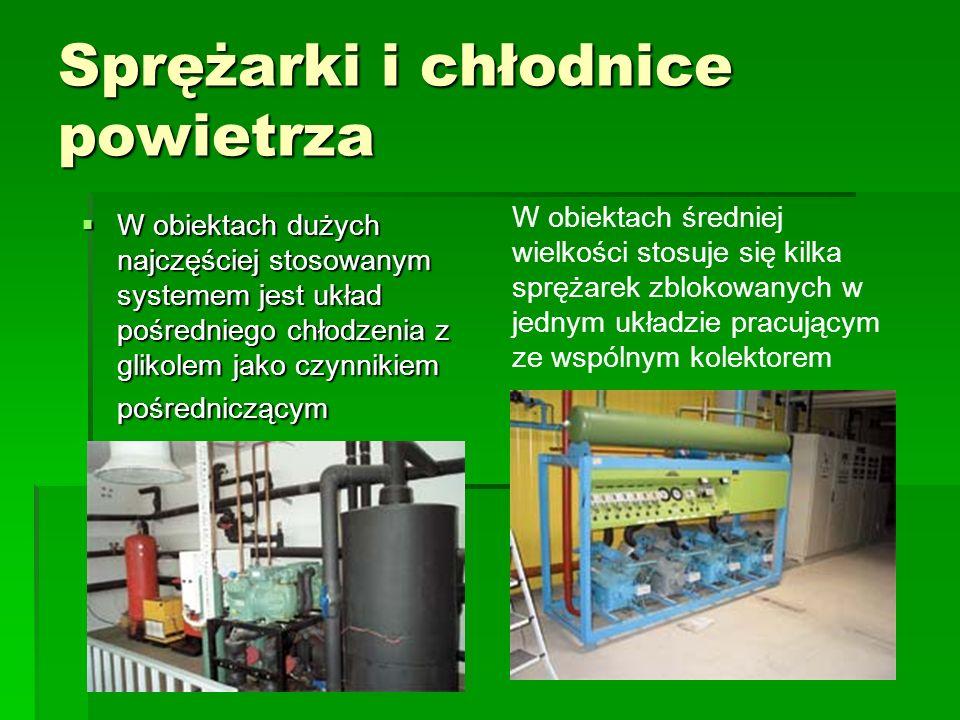 W obiektach średniej wielkości stosuje się kilka sprężarek zblokowanych w jednym układzie pracującym ze wspólnym kolektorem Sprężarki i chłodnice powi