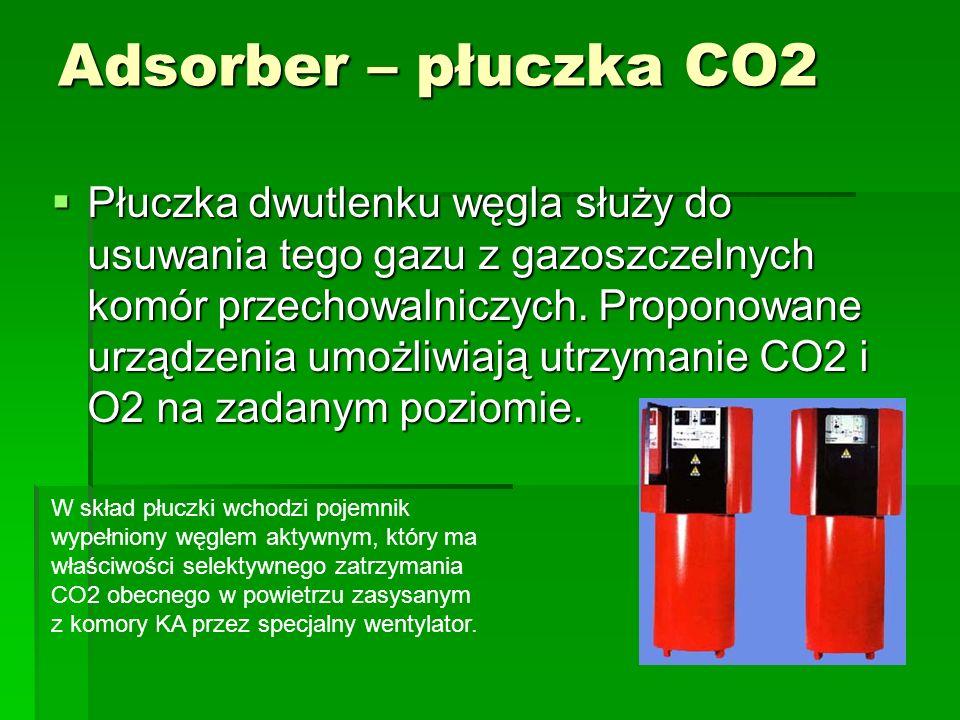 Adsorber – płuczka CO2  Płuczka dwutlenku węgla służy do usuwania tego gazu z gazoszczelnych komór przechowalniczych. Proponowane urządzenia umożliwi