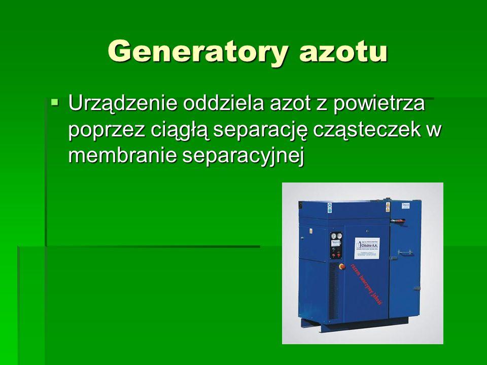 Generatory azotu  Urządzenie oddziela azot z powietrza poprzez ciągłą separację cząsteczek w membranie separacyjnej