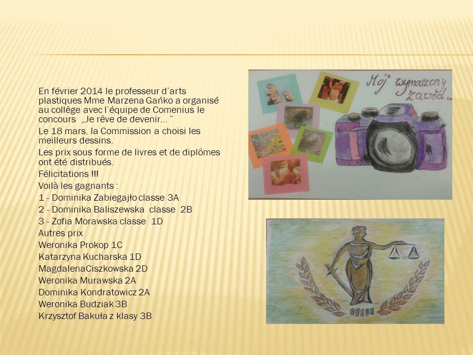 """En février 2014 le professeur d'arts plastiques Mme Marzena Gańko a organisé au collège avec l'équipe de Comenius le concours """"Je rêve de devenir..."""