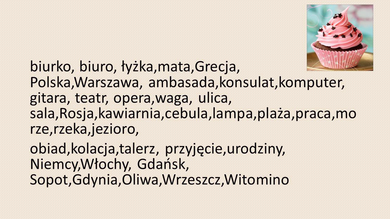 biurko, biuro, łyżka,mata,Grecja, Polska,Warszawa, ambasada,konsulat,komputer, gitara, teatr, opera,waga, ulica, sala,Rosja,kawiarnia,cebula,lampa,plaża,praca,mo rze,rzeka,jezioro, obiad,kolacja,talerz, przyjęcie,urodziny, Niemcy,Włochy, Gdańsk, Sopot,Gdynia,Oliwa,Wrzeszcz,Witomino