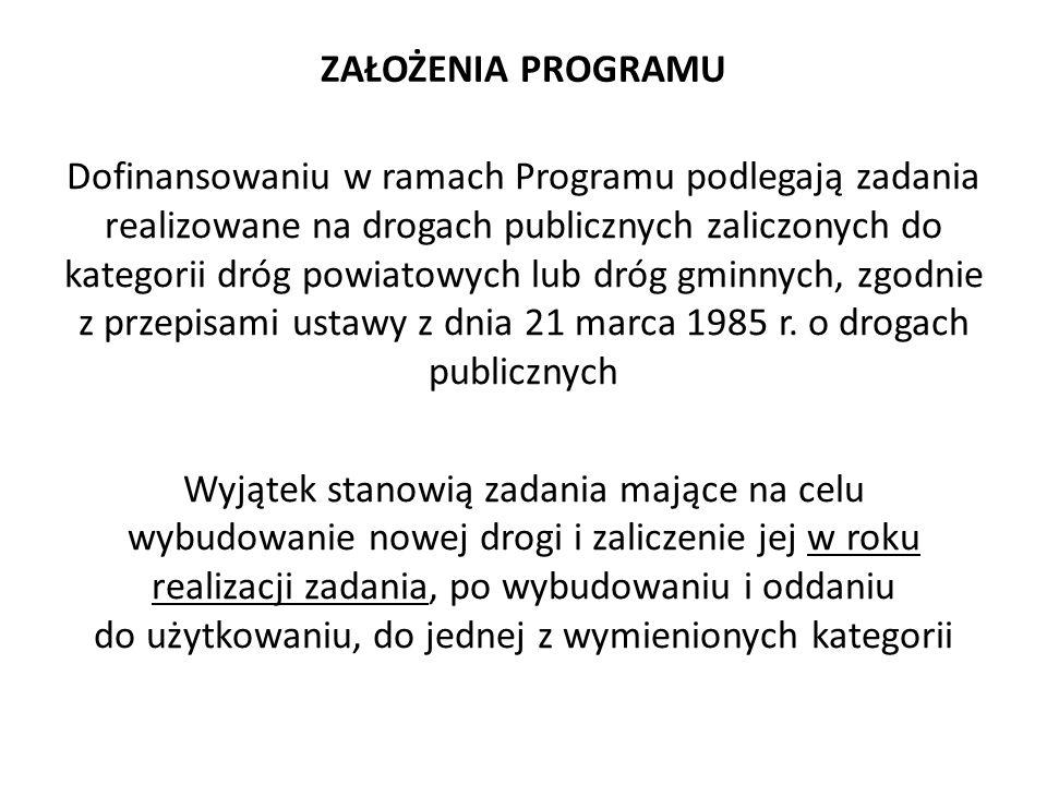 ZAŁOŻENIA PROGRAMU Dofinansowaniu w ramach Programu podlegają zadania realizowane na drogach publicznych zaliczonych do kategorii dróg powiatowych lub