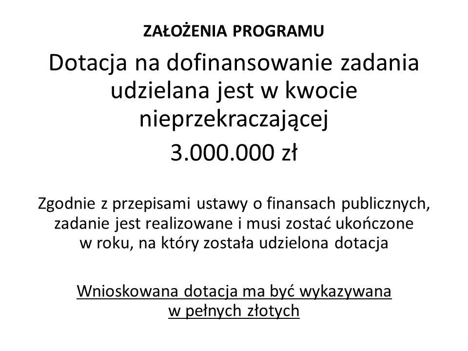 ZAŁOŻENIA PROGRAMU Dotacja na dofinansowanie zadania udzielana jest w kwocie nieprzekraczającej 3.000.000 zł Zgodnie z przepisami ustawy o finansach p