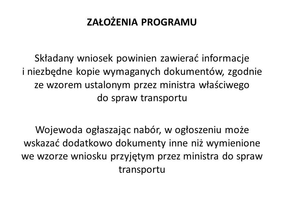 ZAŁOŻENIA PROGRAMU Składany wniosek powinien zawierać informacje i niezbędne kopie wymaganych dokumentów, zgodnie ze wzorem ustalonym przez ministra w