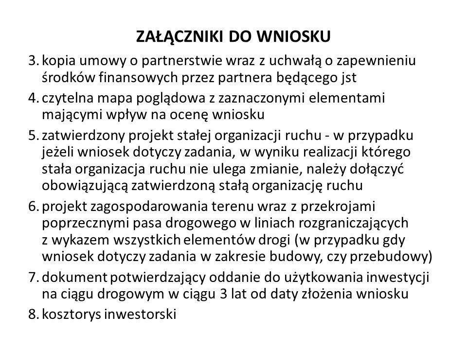 ZAŁĄCZNIKI DO WNIOSKU 3.kopia umowy o partnerstwie wraz z uchwałą o zapewnieniu środków finansowych przez partnera będącego jst 4.czytelna mapa pogląd