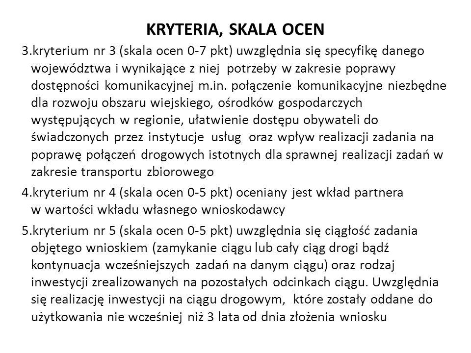 KRYTERIA, SKALA OCEN 3.kryterium nr 3 (skala ocen 0-7 pkt) uwzględnia się specyfikę danego województwa i wynikające z niej potrzeby w zakresie poprawy