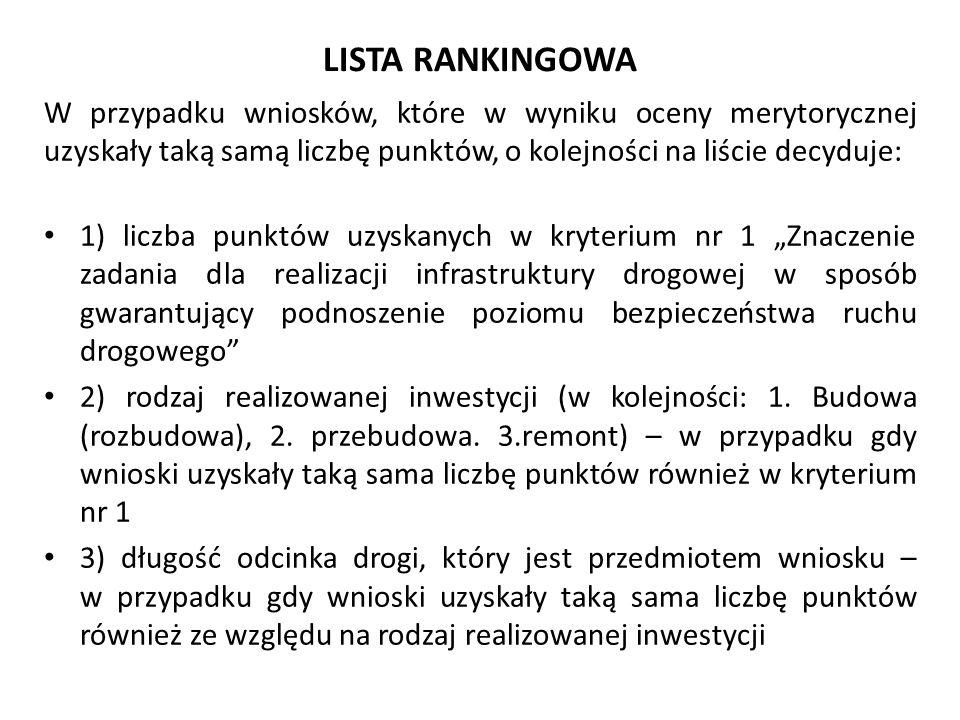 LISTA RANKINGOWA W przypadku wniosków, które w wyniku oceny merytorycznej uzyskały taką samą liczbę punktów, o kolejności na liście decyduje: 1) liczb