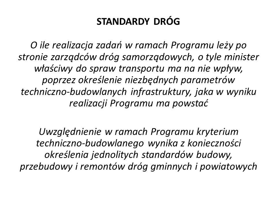STANDARDY DRÓG O ile realizacja zadań w ramach Programu leży po stronie zarządców dróg samorządowych, o tyle minister właściwy do spraw transportu ma