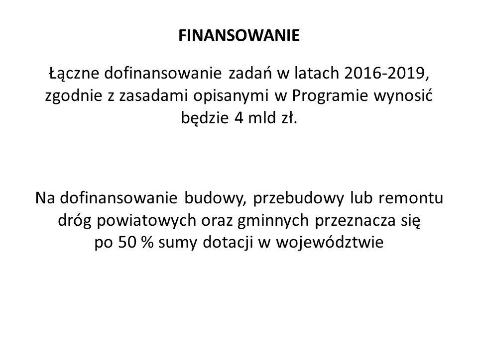 FINANSOWANIE Łączne dofinansowanie zadań w latach 2016-2019, zgodnie z zasadami opisanymi w Programie wynosić będzie 4 mld zł. Na dofinansowanie budow