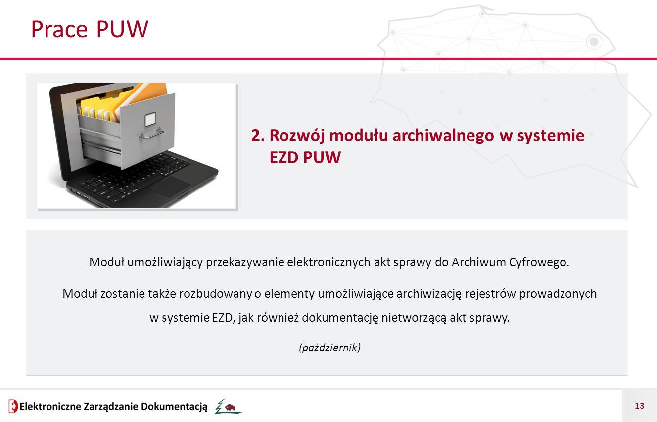 13 Prace PUW 2. Rozwój modułu archiwalnego w systemie EZD PUW Moduł umożliwiający przekazywanie elektronicznych akt sprawy do Archiwum Cyfrowego. Modu