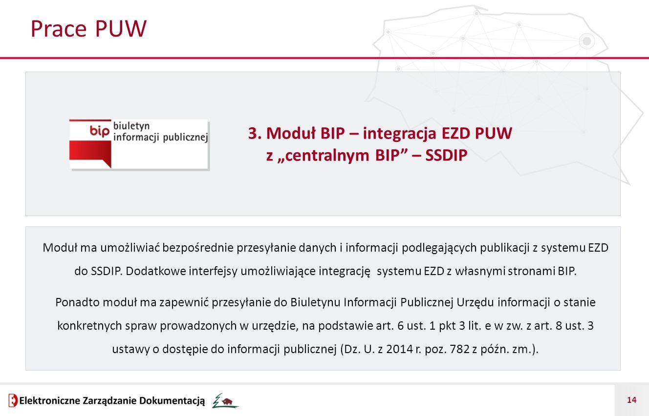 """14 Prace PUW 3. Moduł BIP – integracja EZD PUW z """"centralnym BIP"""" – SSDIP Moduł ma umożliwiać bezpośrednie przesyłanie danych i informacji podlegający"""