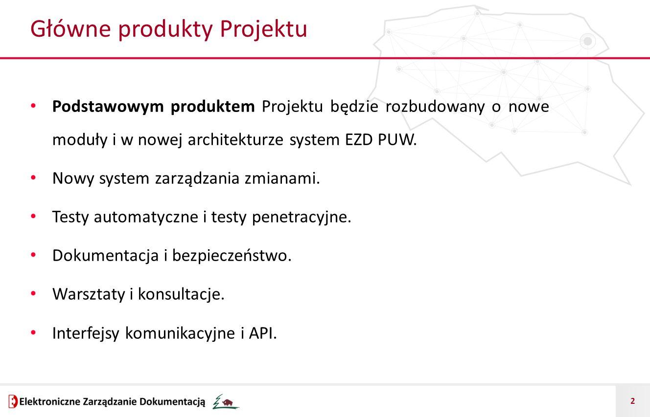 2 Główne produkty Projektu Podstawowym produktem Projektu będzie rozbudowany o nowe moduły i w nowej architekturze system EZD PUW. Nowy system zarządz