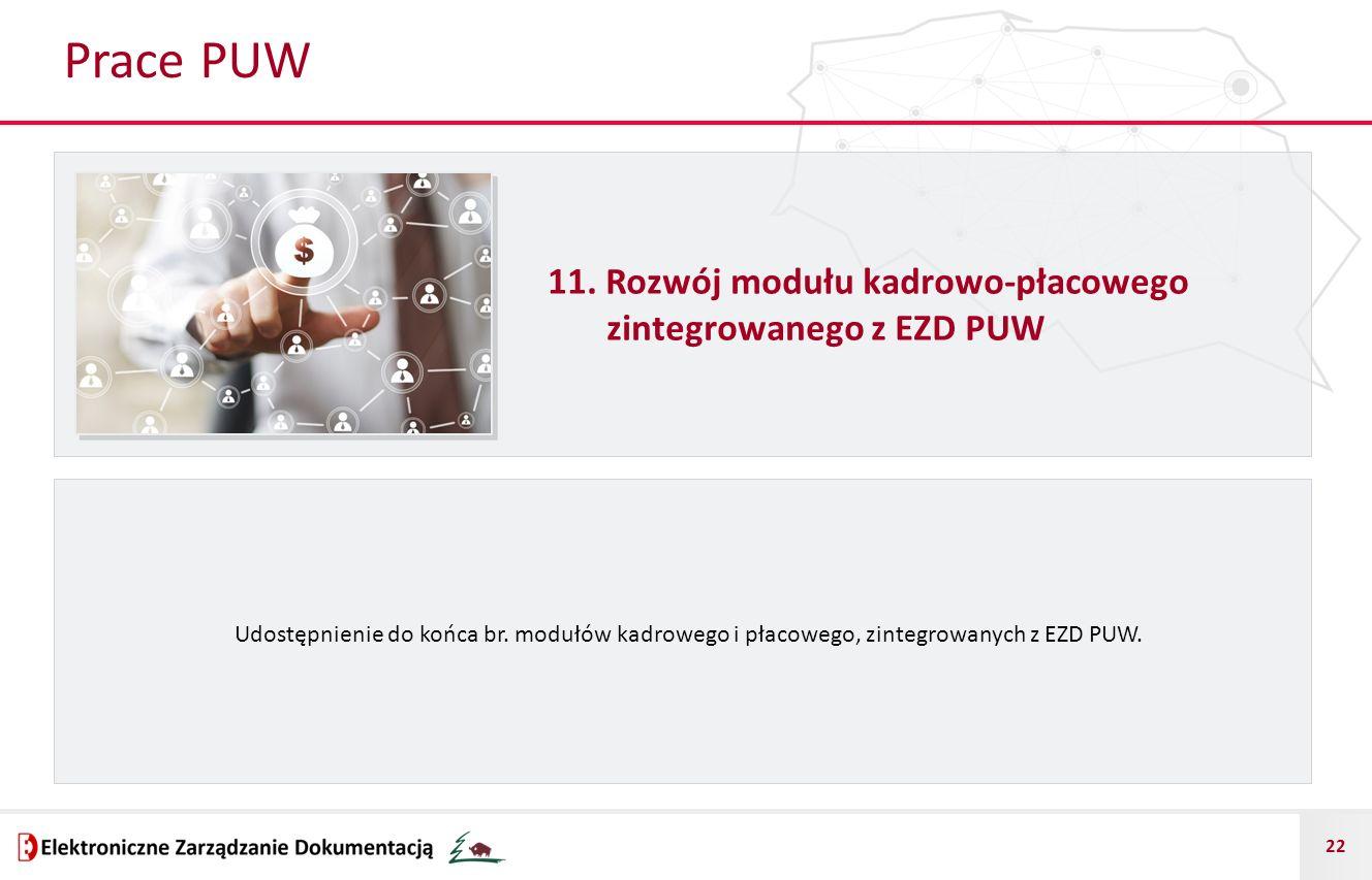 22 Prace PUW 11. Rozwój modułu kadrowo-płacowego zintegrowanego z EZD PUW Udostępnienie do końca br. modułów kadrowego i płacowego, zintegrowanych z E