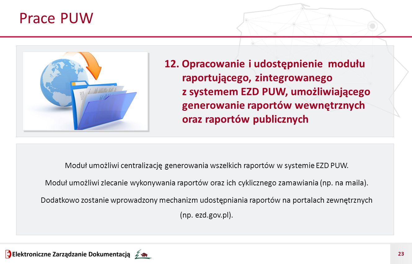 23 Prace PUW 12. Opracowanie i udostępnienie modułu raportującego, zintegrowanego z systemem EZD PUW, umożliwiającego generowanie raportów wewnętrznyc