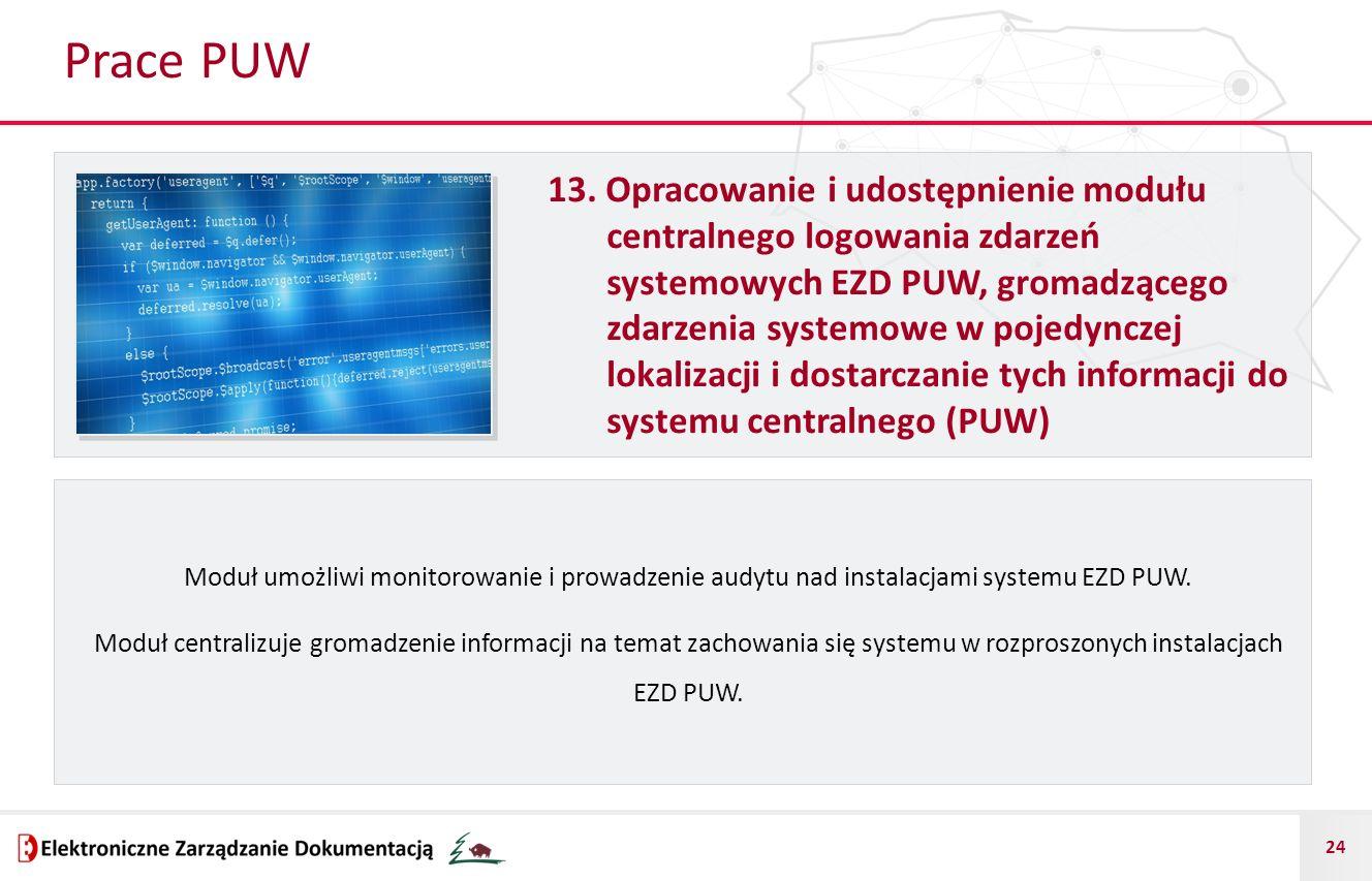24 Prace PUW 13. Opracowanie i udostępnienie modułu centralnego logowania zdarzeń systemowych EZD PUW, gromadzącego zdarzenia systemowe w pojedynczej