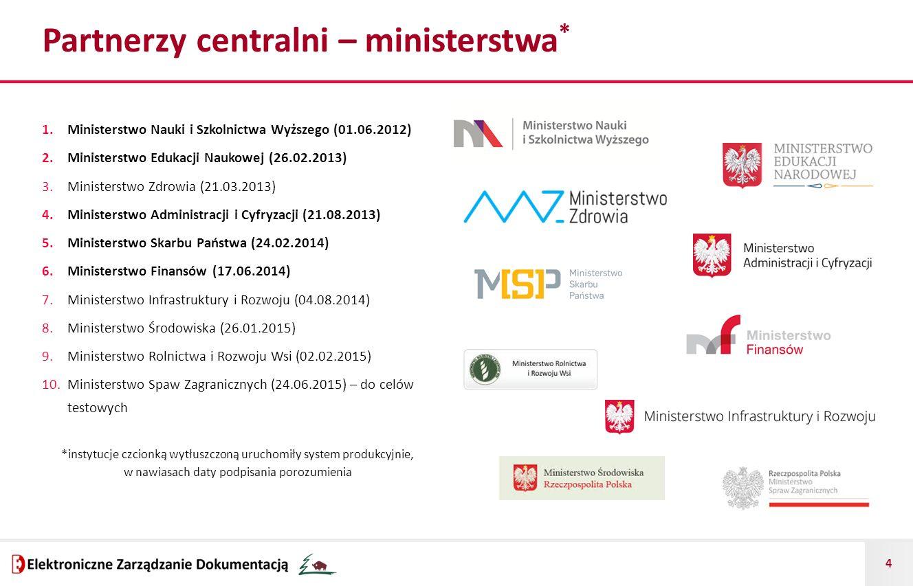 4 Partnerzy centralni – ministerstwa * 1.Ministerstwo Nauki i Szkolnictwa Wyższego (01.06.2012) 2.Ministerstwo Edukacji Naukowej (26.02.2013) 3.Minist