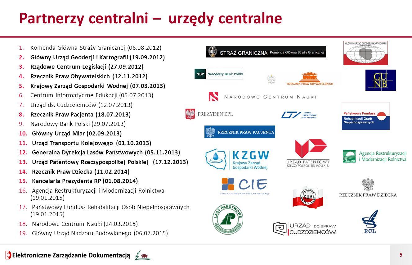 5 Partnerzy centralni – urzędy centralne 1.Komenda Główna Straży Granicznej (06.08.2012) 2.Główny Urząd Geodezji i Kartografii (19.09.2012) 3.Rządow