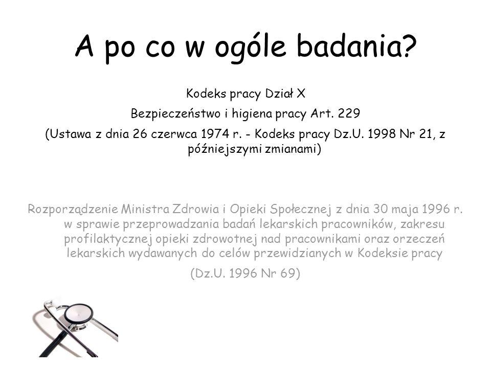 A po co w ogóle badania? Kodeks pracy Dział X Bezpieczeństwo i higiena pracy Art. 229 (Ustawa z dnia 26 czerwca 1974 r. - Kodeks pracy Dz.U. 1998 Nr 2