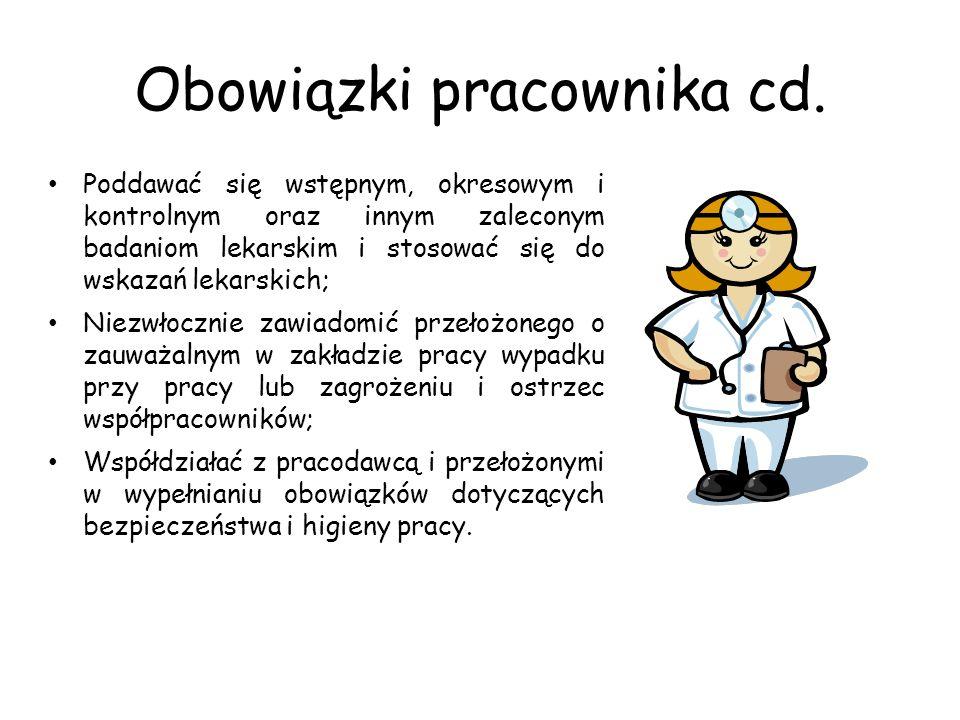 Obowiązki pracownika cd. Poddawać się wstępnym, okresowym i kontrolnym oraz innym zaleconym badaniom lekarskim i stosować się do wskazań lekarskich; N