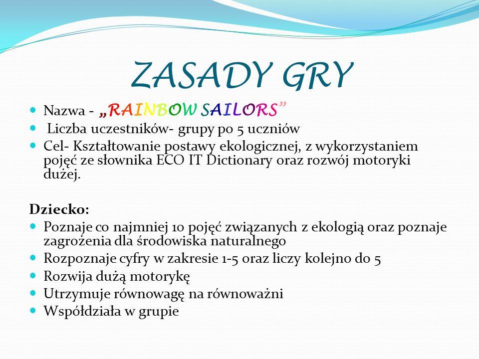 """ZASADY GRY Nazwa - """"RAINBOW SAILORS"""" Liczba uczestników- grupy po 5 uczniów Cel- Kształtowanie postawy ekologicznej, z wykorzystaniem pojęć ze słownik"""