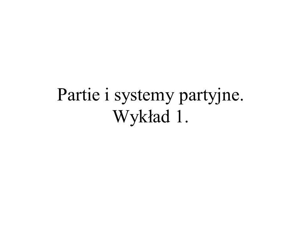 Partie i systemy partyjne. Wykład 1.