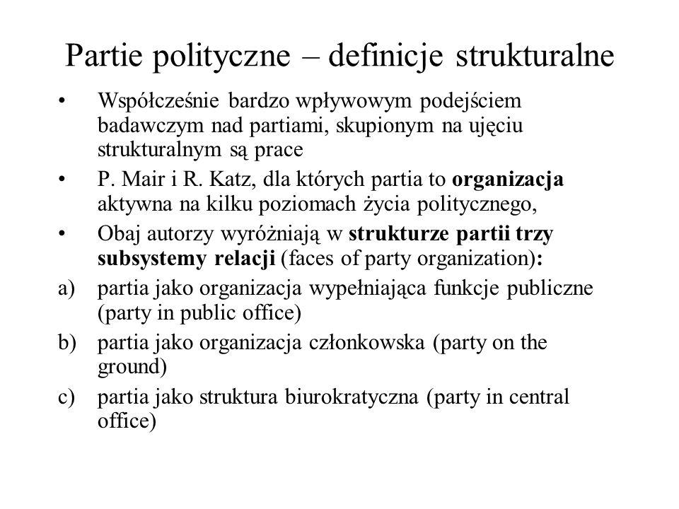 Partie polityczne – definicje strukturalne Współcześnie bardzo wpływowym podejściem badawczym nad partiami, skupionym na ujęciu strukturalnym są prace P.