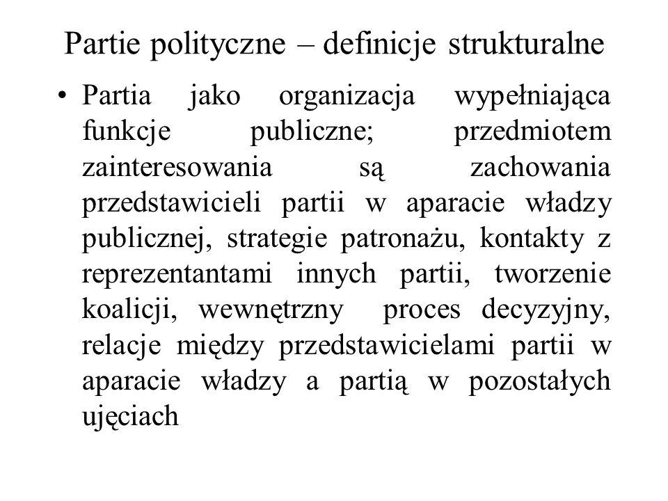Partie polityczne – definicje strukturalne Partia jako organizacja wypełniająca funkcje publiczne; przedmiotem zainteresowania są zachowania przedstawicieli partii w aparacie władzy publicznej, strategie patronażu, kontakty z reprezentantami innych partii, tworzenie koalicji, wewnętrzny proces decyzyjny, relacje między przedstawicielami partii w aparacie władzy a partią w pozostałych ujęciach