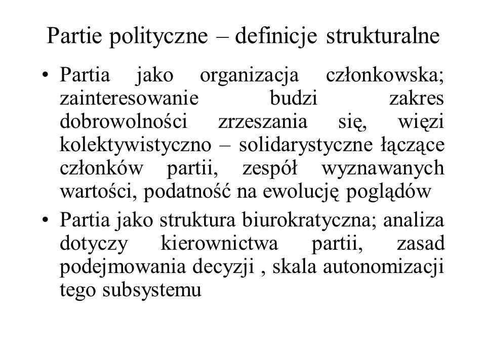 Partie polityczne – definicje strukturalne Partia jako organizacja członkowska; zainteresowanie budzi zakres dobrowolności zrzeszania się, więzi kolektywistyczno – solidarystyczne łączące członków partii, zespół wyznawanych wartości, podatność na ewolucję poglądów Partia jako struktura biurokratyczna; analiza dotyczy kierownictwa partii, zasad podejmowania decyzji, skala autonomizacji tego subsystemu