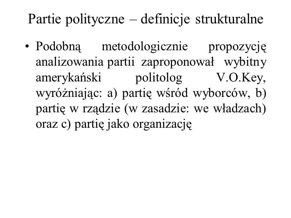 Partie polityczne – definicje strukturalne Podobną metodologicznie propozycję analizowania partii zaproponował wybitny amerykański politolog V.O.Key, wyróżniając: a) partię wśród wyborców, b) partię w rządzie (w zasadzie: we władzach) oraz c) partię jako organizację