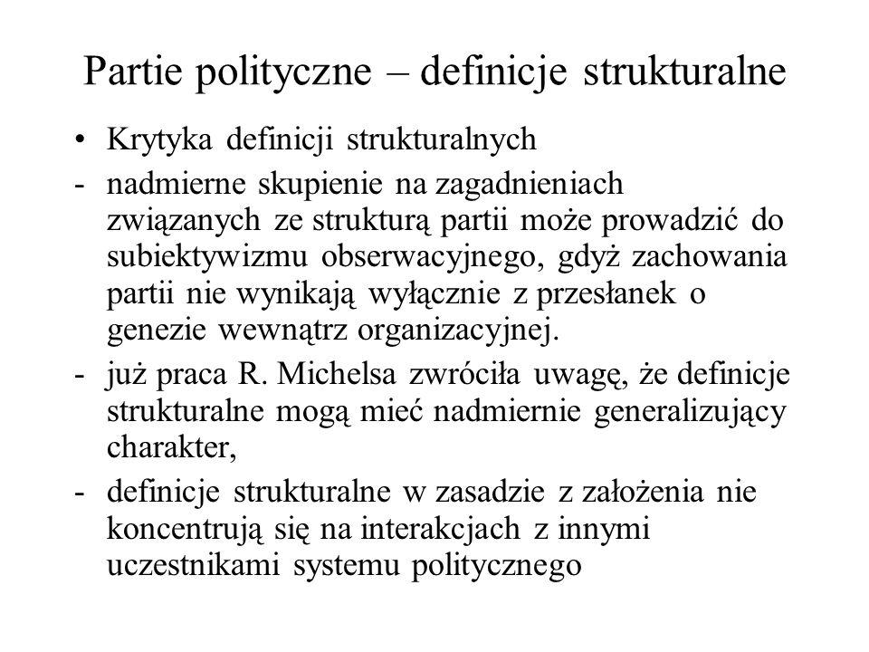 Partie polityczne – definicje strukturalne Krytyka definicji strukturalnych -nadmierne skupienie na zagadnieniach związanych ze strukturą partii może prowadzić do subiektywizmu obserwacyjnego, gdyż zachowania partii nie wynikają wyłącznie z przesłanek o genezie wewnątrz organizacyjnej.