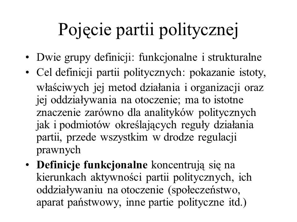 Pojęcie partii politycznej Dwie grupy definicji: funkcjonalne i strukturalne Cel definicji partii politycznych: pokazanie istoty, właściwych jej metod działania i organizacji oraz jej oddziaływania na otoczenie; ma to istotne znaczenie zarówno dla analityków politycznych jak i podmiotów określających reguły działania partii, przede wszystkim w drodze regulacji prawnych Definicje funkcjonalne koncentrują się na kierunkach aktywności partii politycznych, ich oddziaływaniu na otoczenie (społeczeństwo, aparat państwowy, inne partie polityczne itd.)