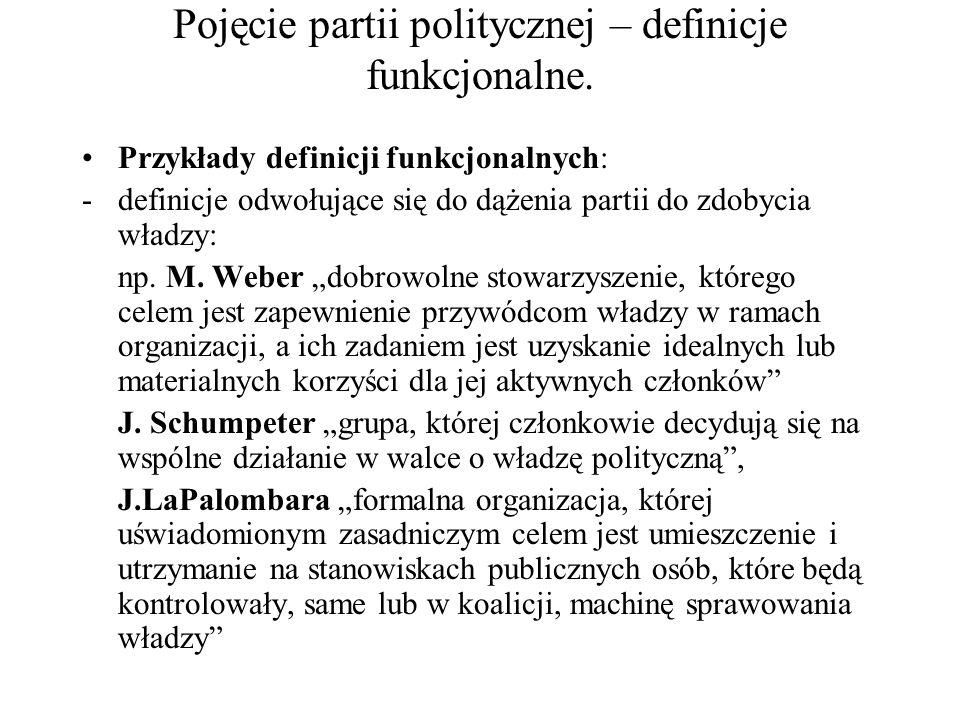 Pojęcie partii politycznej – definicje funkcjonalne. Przykłady definicji funkcjonalnych: -definicje odwołujące się do dążenia partii do zdobycia władz