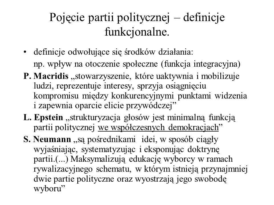 Pojęcie partii politycznej – definicje funkcjonalne. definicje odwołujące się środków działania: np. wpływ na otoczenie społeczne (funkcja integracyjn