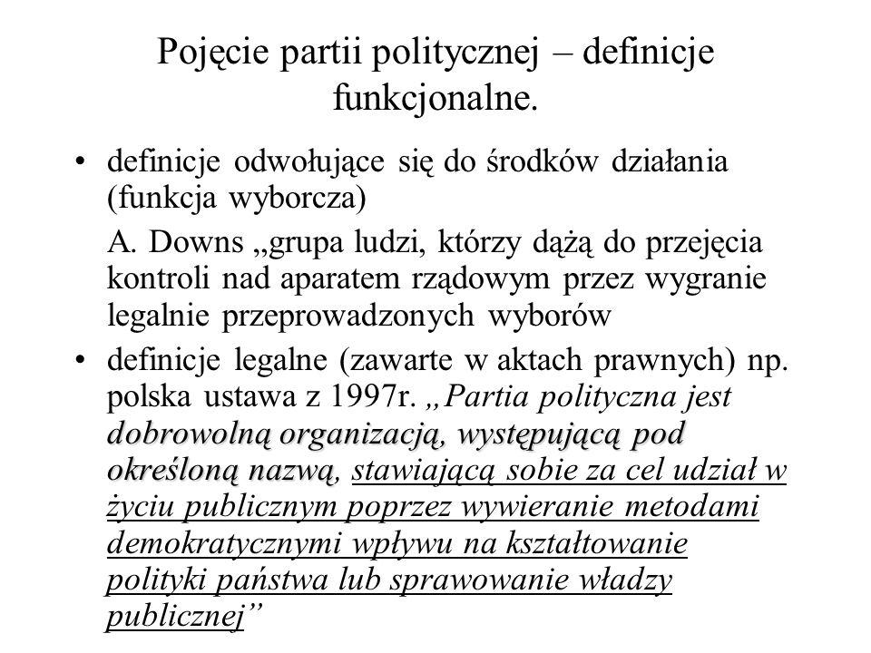 """Pojęcie partii politycznej – definicje funkcjonalne. definicje odwołujące się do środków działania (funkcja wyborcza) A. Downs """"grupa ludzi, którzy dą"""