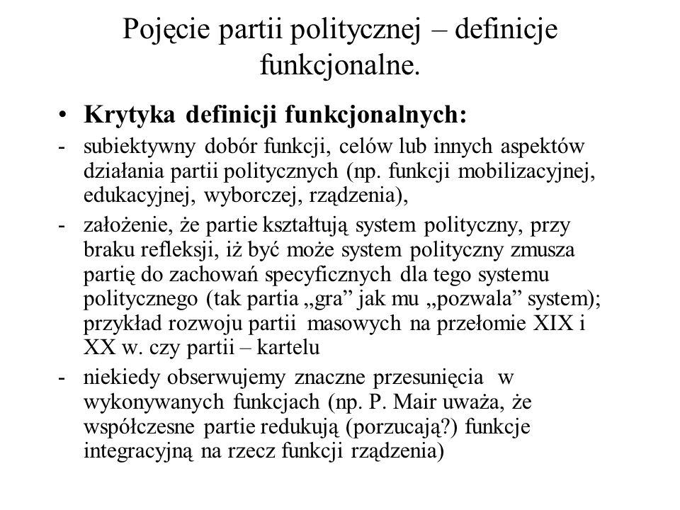 Pojęcie partii politycznej – definicje funkcjonalne. Krytyka definicji funkcjonalnych: -subiektywny dobór funkcji, celów lub innych aspektów działania