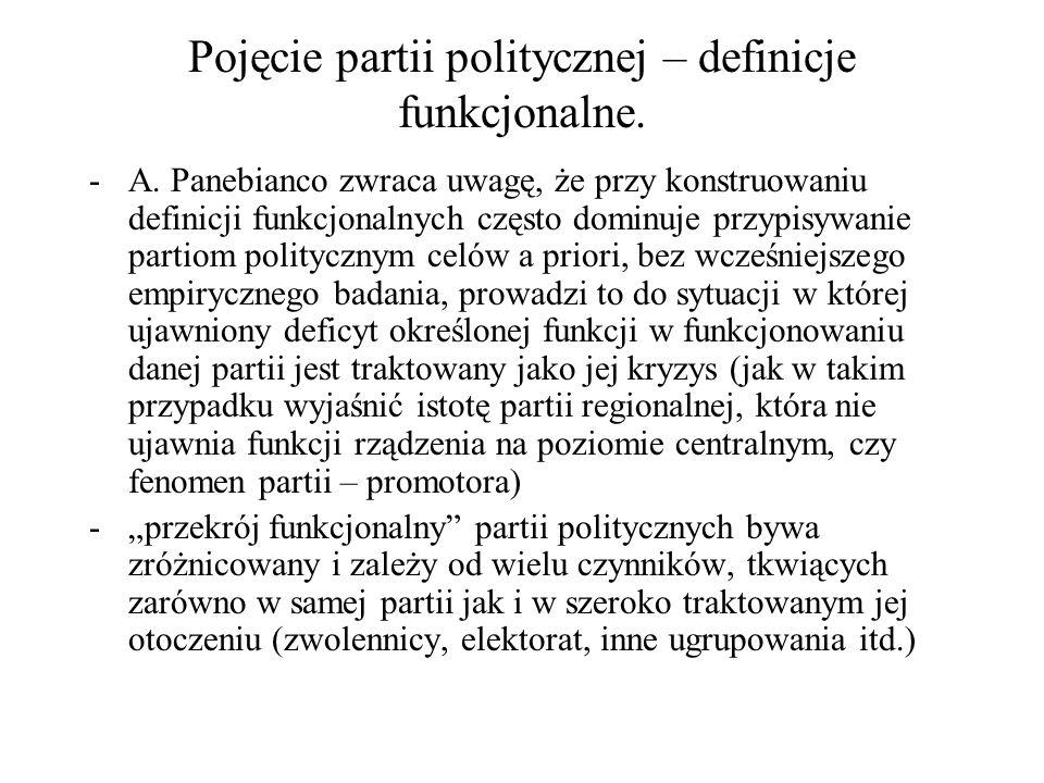 Pojęcie partii politycznej – definicje funkcjonalne. -A. Panebianco zwraca uwagę, że przy konstruowaniu definicji funkcjonalnych często dominuje przyp