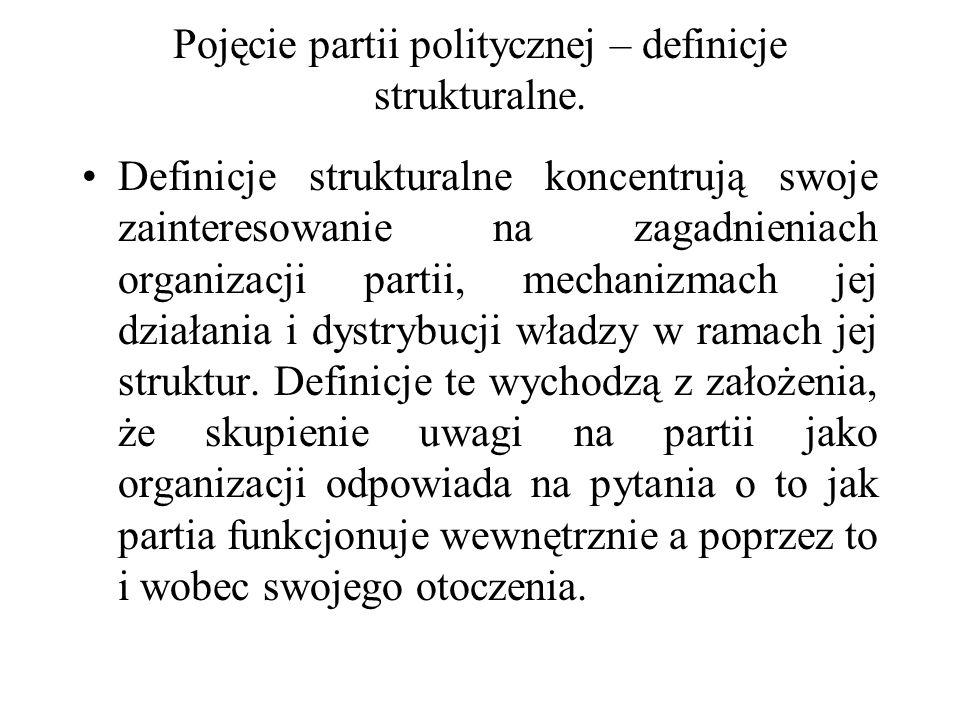 Pojęcie partii politycznej – definicje strukturalne. Definicje strukturalne koncentrują swoje zainteresowanie na zagadnieniach organizacji partii, mec