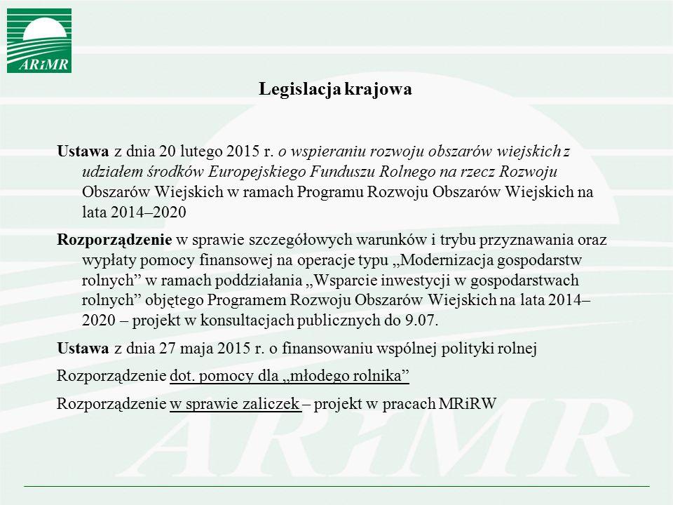 Program Rozwoju Obszarów Wiejskich na lata 2014-2020 zatwierdzony 12.12.2014 r.