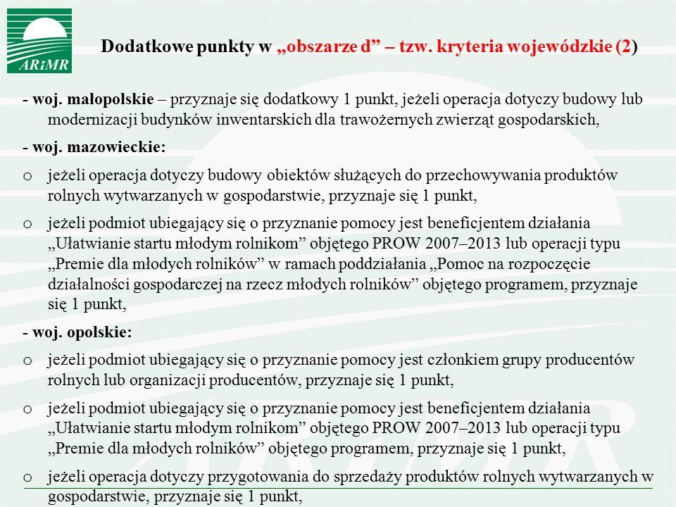 """Dodatkowe punkty w """"obszarze d"""" – tzw. kryteria wojewódzkie (2) - woj. małopolskie – przyznaje się dodatkowy 1 punkt, jeżeli operacja dotyczy budowy l"""