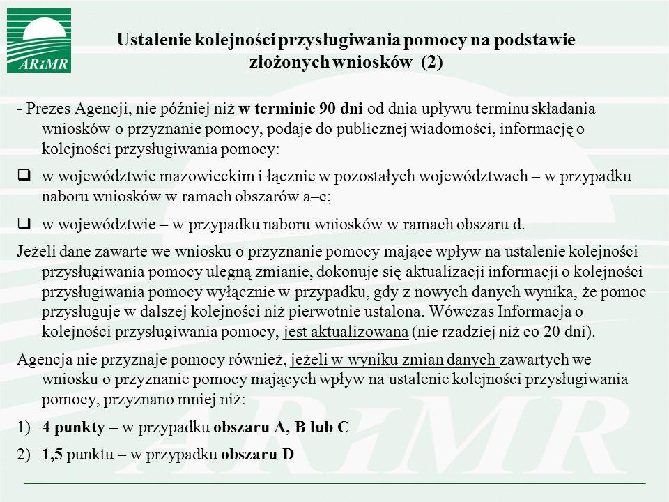 Ustalenie kolejności przysługiwania pomocy na podstawie złożonych wniosków (2) - Prezes Agencji, nie później niż w terminie 90 dni od dnia upływu term