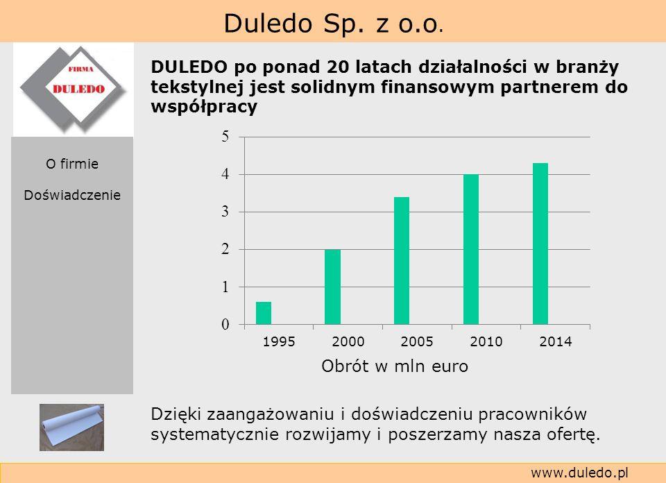 Duledo Sp. z o.o. www.duledo.pl DULEDO po ponad 20 latach działalności w branży tekstylnej jest solidnym finansowym partnerem do współpracy O firmie D
