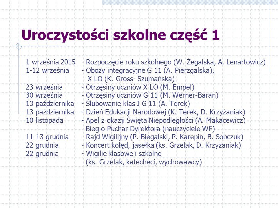 Uroczystości szkolne część 1 1 września 2015- Rozpoczęcie roku szkolnego (W. Żegalska, A. Lenartowicz) 1-12 września - Obozy integracyjne G 11 (A. Pie