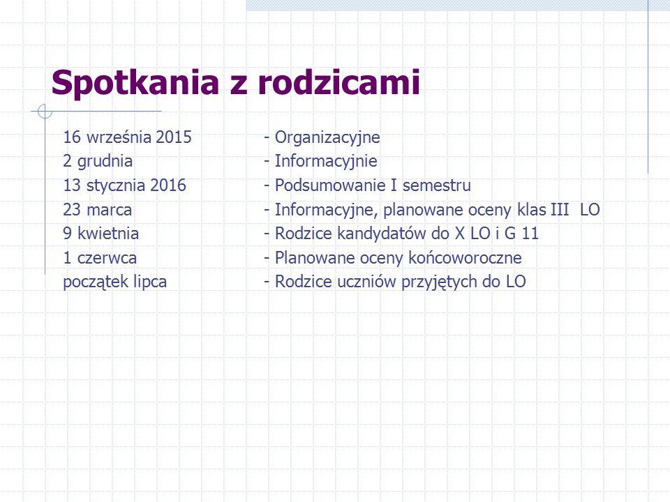 Spotkania z rodzicami 16 września 2015- Organizacyjne 2 grudnia - Informacyjnie 13 stycznia 2016- Podsumowanie I semestru 23 marca - Informacyjne, pla