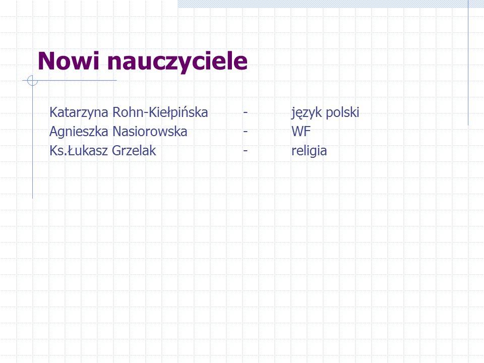 Nowi nauczyciele Katarzyna Rohn-Kiełpińska- język polski Agnieszka Nasiorowska-WF Ks.Łukasz Grzelak-religia