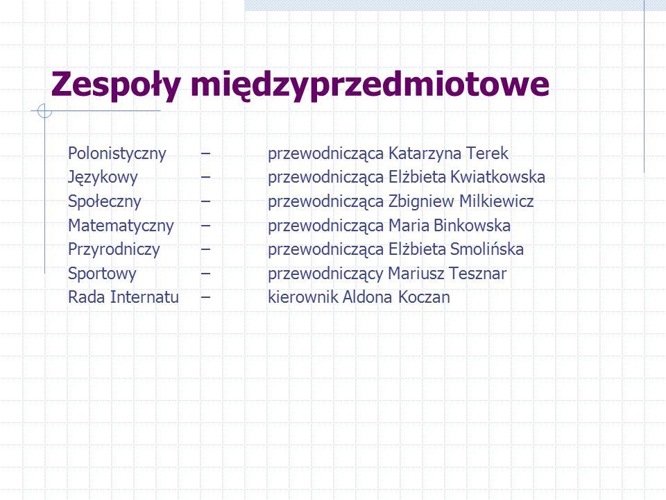 Zespoły międzyprzedmiotowe Polonistyczny – przewodnicząca Katarzyna Terek Językowy – przewodnicząca Elżbieta Kwiatkowska Społeczny – przewodnicząca Zb