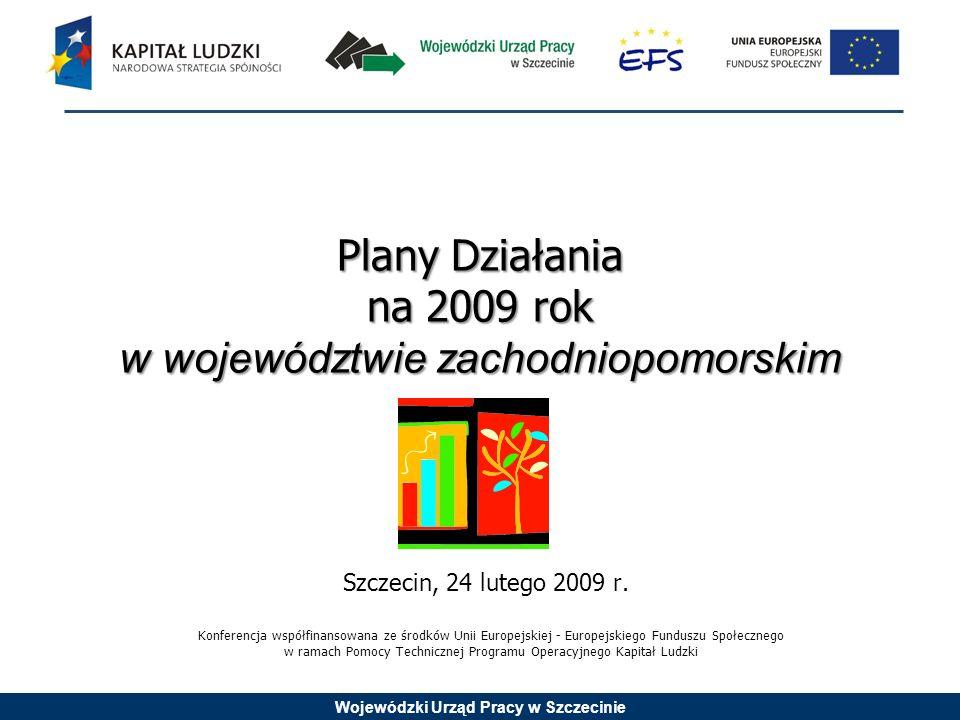 Wojewódzki Urząd Pracy w Szczecinie Plany Działania na 2009 rok w województwie zachodniopomorskim Szczecin, 24 lutego 2009 r.