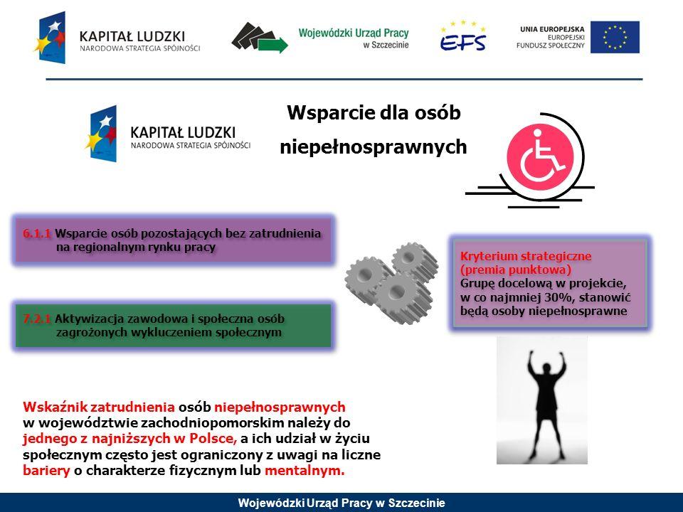 Wojewódzki Urząd Pracy w Szczecinie 6.1.1 Wsparcie osób pozostających bez zatrudnienia na regionalnym rynku pracy 7.2.1 Aktywizacja zawodowa i społeczna osób zagrożonych wykluczeniem społecznym Kryterium strategiczne (premia punktowa) Grupę docelową w projekcie, w co najmniej 30%, stanowić będą osoby niepełnosprawne Kryterium strategiczne (premia punktowa) Grupę docelową w projekcie, w co najmniej 30%, stanowić będą osoby niepełnosprawne Wsparcie dla osób niepełnosprawnych Wskaźnik zatrudnienia osób niepełnosprawnych w województwie zachodniopomorskim należy do jednego z najniższych w Polsce, a ich udział w życiu społecznym często jest ograniczony z uwagi na liczne bariery o charakterze fizycznym lub mentalnym.