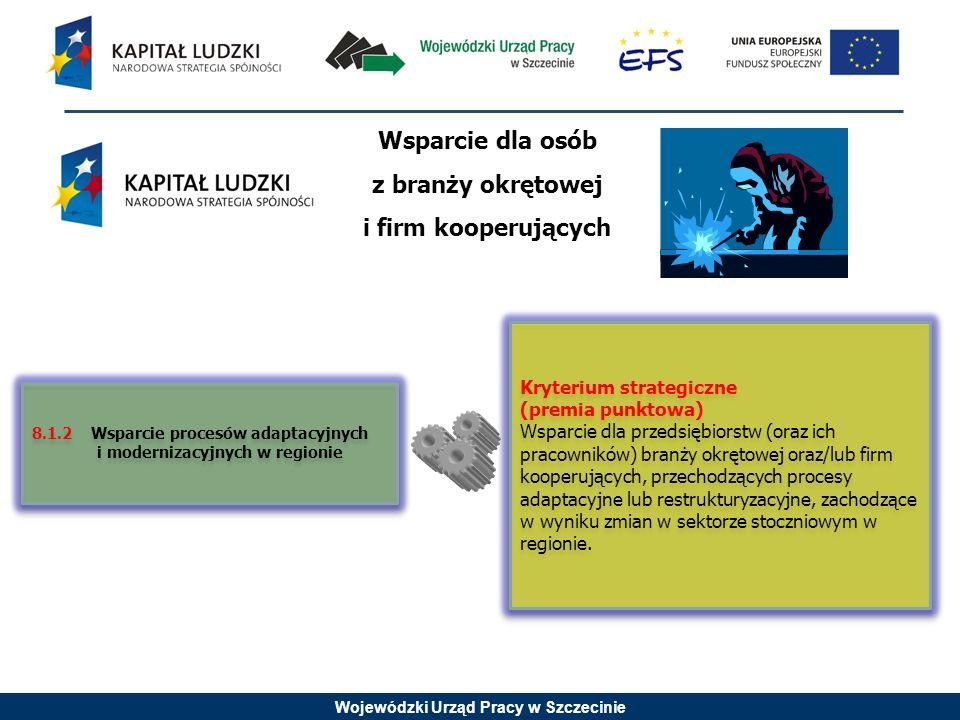 Wojewódzki Urząd Pracy w Szczecinie Komplementarność PO KL z Regionalną Strategią Innowacyności Kryterium strategiczne (premia punktowa) Projekt przygotowuje do przekwalifikowania na zawody w branżach uznanych za szczególnie istotne z punktu widzenia rozwoju województwa określone w RSI m.in.