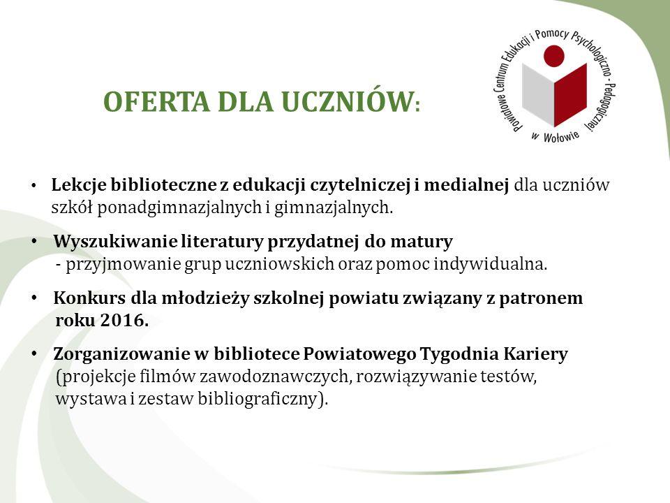 Lekcje biblioteczne z edukacji czytelniczej i medialnej dla uczniów szkół ponadgimnazjalnych i gimnazjalnych. Wyszukiwanie literatury przydatnej do ma